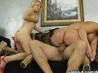 Big Ass, Big Tits, Blonde, Exotic, Mellanie Monroe, MILF, Pornstar, Stockings, Threesome, White,