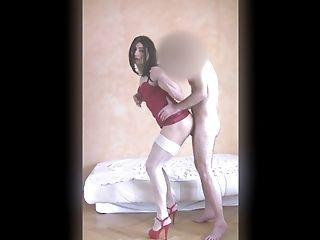 Dos Nu, Gros Cul, Sans Seins, Homme Qui Baise Un Transsexuel, En Haute Qualité, Lingerie , Romantique , Petits Seins, Collants ,