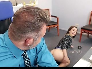 Brunette, CFNM, Clothed Sex, Cumshot, Daughter, Facial, Office, Slut, Stepdad,