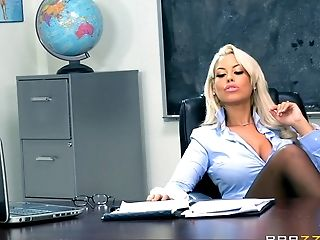 Big Tits, Blonde, Couple, Fake Tits, Hardcore, Long Hair, Pussy, Riding, Rough, Teacher,