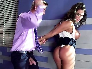 Babe, Big Tits, Blowjob, Boss, Brunette, Couch, Deepthroat, Doggystyle, Fake Tits, Gagging,