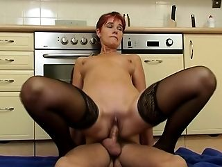 Ass Fucking, Blowjob, Cumshot, Cute, Granny, Kitchen, Lingerie, Mature, Old, Old And Young,