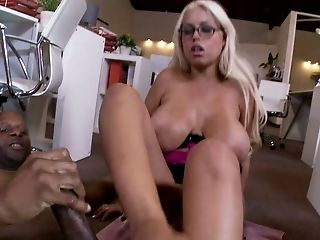 Big Tits, Blonde, Bridgette B, Curvy, Cute, Feet, Foot Fetish, Glasses, Interracial, Missionary,