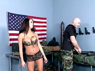 Army, Babe, Big Tits, Blowjob, Brunette, Deepthroat, Doggystyle, Fake Tits, Footjob, Hardcore,