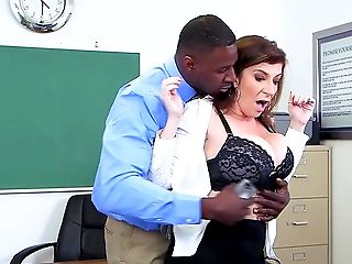 Big Ass, Big Tits, Black, Blowjob, Classroom, College, Cum In Mouth, Cumshot, Deepthroat, Desk,