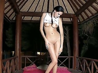 Brunette, Cute, Dildo, Fingering, Huge Tits, Masturbation, Outdoor, Pussy, Rubbing, Solo,