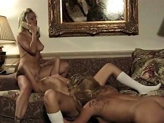Ass, Blonde, Bra, Cute, Fingering, Lesbian, Licking, Retro, Sex Toys, Thong,