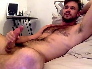 Bedroom, Big Cock, Brunette, Caucasian, Cumshot, Ethnic, Hairy, HD, Jerking, Masturbation,